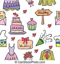 Vector illustration of wedding party doodle style