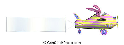 Easter Bunny Pulling Blank Banner - Easter Bunny Flying a...