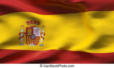 Creased SPAIN satin flag in wind - Highly detailed texture...
