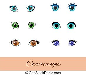 Set of cartoon eyes. Collection of vector different eyes....