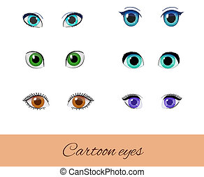 Set of cartoon eyes. Collection of different eyes. Green,...