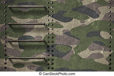 Army camouflage of tank turret armor background 3d...