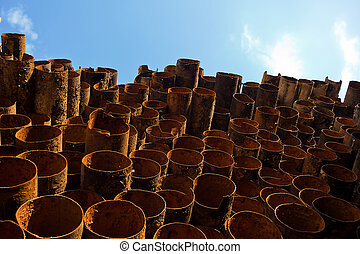 Waste material - In stock rusting pipes.