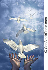 Releasing the Doves - combination of 3d renders, digital...