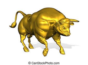 Golden Bull - 3D render