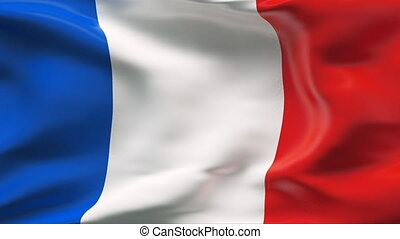 Creased FRANCE satin flag in wind - Highly detailed texture...