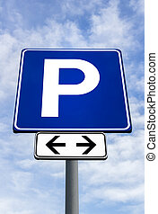 Streetsign for a parking lot - Parking traffic sign on a sky...