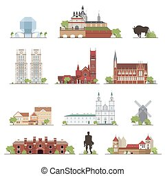 Set of Belarus country buildings, famous places in flat...