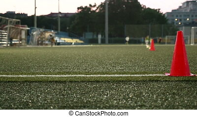 Cone markers for american football. Smooth and slow slider...