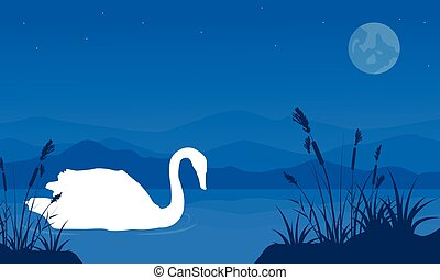 Silhouette of swan with grass landscape
