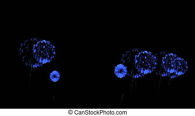 Colorful fireworks at night. Spectacular firecrakers 3d render. Blue version 51