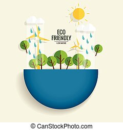 ECO FRIENDLY. Ecology concept with tree background. Vector illustration