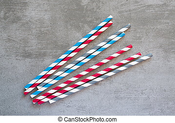 Multi colored striped drinking straws - Red, blue, gray and...