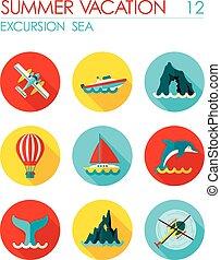 Excursion sea flat icon set. Summer. Vacation - Excursion...