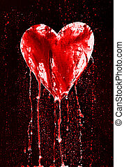 broken heart - bleeding heart - Detail of the painted...