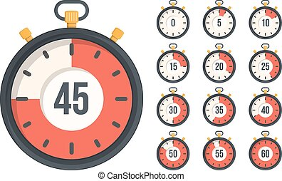 Stopwatch with different time, flat design, vector eps10...