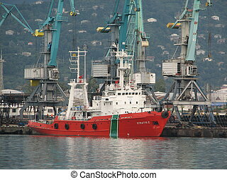 beautiful ship on a background of blue lifting cranes - Port...