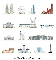 Set of Minsk city buildings, famous places in flat style....