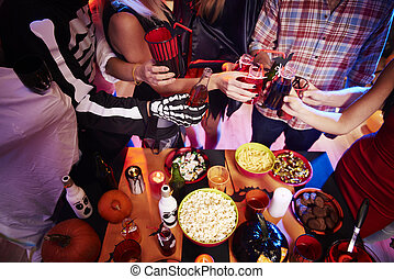 High angle view at halloween table