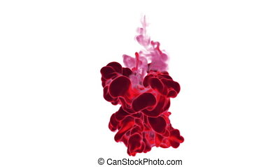 Close-up movement of red paint in water. Color drop in water ink swirling in water. Cloud of silky ink in water isolated on white background with alpha mask VFX. Version 9