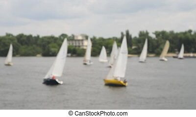 Competitions yacht regatta on blurred