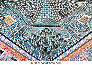 Decorated ceiling in Shah-i-Zinda necropolis, Samarkand