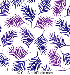 Floral seamless pattern with purple leaves on white...