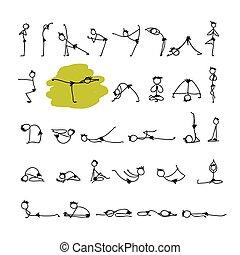Yoga set, sketch for your design. Vector illustration