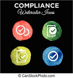 In Compliance Icon Set - Solid Watercolor - In Compliance...