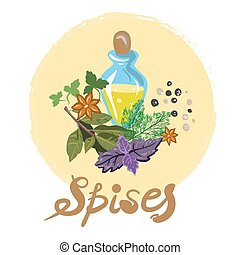 Spices and flavours vector illustration free hand drawn...