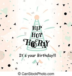 Vector illustration of Happy Birthday greeting card with...