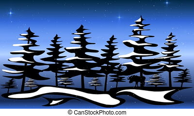 Northern scene - winter scene with falling snow and...