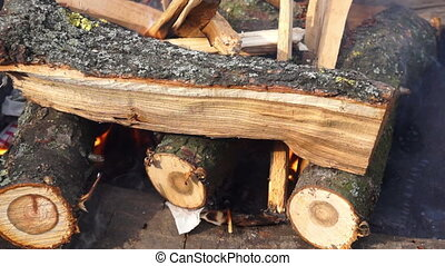 Fire flame heat hot - Burning chop wood in the stone...
