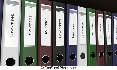 Line of multicolor office binders with Law cases tags. 4K...