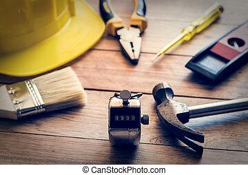 Trä, konstruktion, redskapen, planka