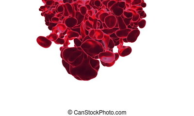 Close-up movement of red paint in water. Color drop in water ink swirling in water. Cloud of silky ink in water isolated on white background with alpha mask VFX. Version 17
