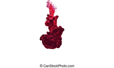 Close-up movement of red paint in water. Color drop in water ink swirling in water. Cloud of silky ink in water isolated on white background with alpha mask VFX. Version 15
