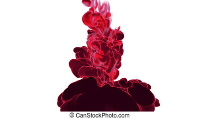 Close-up movement of red paint in water. Color drop in water ink swirling in water. Cloud of silky ink in water isolated on white background with alpha mask VFX. Version 16