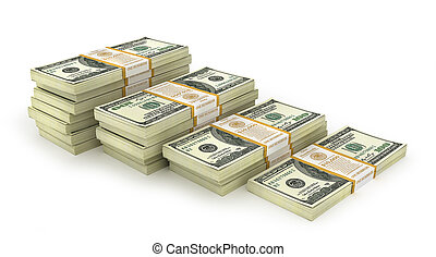 Stacks of Hundred US Dollars. Money stairs. 3d illustration