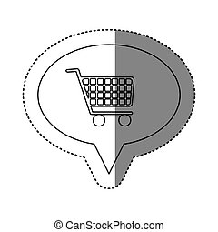 sticker of monochrome contour of oval speech with shopping cart icon