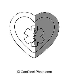 sticker of monochrome silhouette of heart with health symbol...