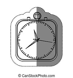 sticker of monochrome stopwatch in shape square vector...