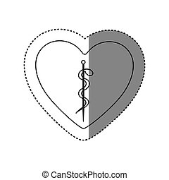 sticker of monochrome silhouette of heart with asclepius...