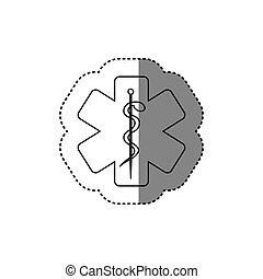 sticker of monochrome silhouette of health symbol with star...