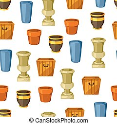 Garden pots. Seamless pattern with various color flowerpots