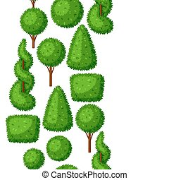 Boxwood topiary garden plants. Seamless pattern with decorative trees