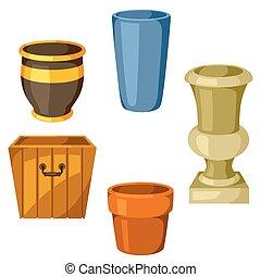 set, giardino, colorare, Otri, vario, vasi fiori