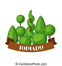 Boxwood topiary garden plants. Background with decorative trees