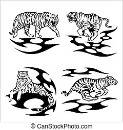 Tribal tigers - vector set - Tribal tigers set on white.