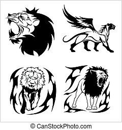 Tribal lions. Set of black and white vector illustrations.